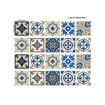20Pcs Square Traditional Floral Print Antislip Wall Decals - BLUE 4*4 INCH