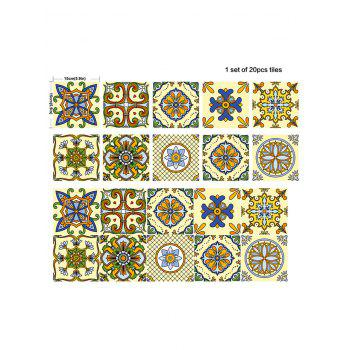 20Pcs Square Flower Printed Skidproof Wall Tile Stickers - YELLOW / GREEN 6*6 INCH