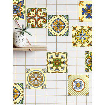 20Pcs Square Flower Printed Skidproof Wall Tile Stickers - YELLOW / GREEN 8*8 INCH