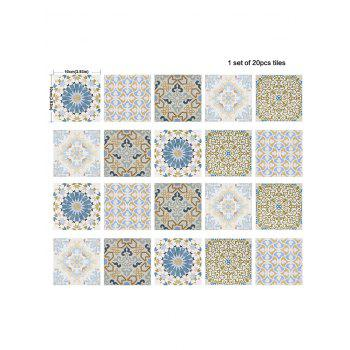 Nonslip Square Flower Print Wall Stickers Set - COLORMIX 4*4 INCH