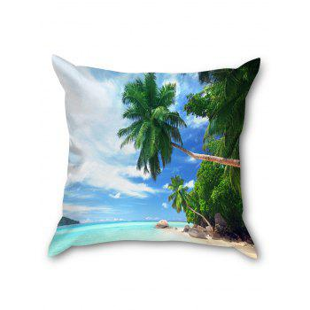 Palm Trees Beach Print Linen Sofa Pillowcase - CLOUDY W18 INCH * L18 INCH