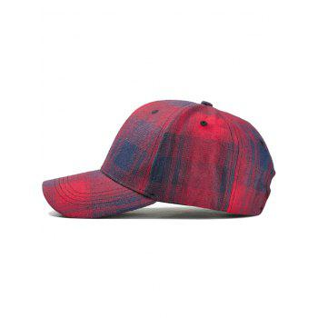 Plaid Pattern Adjustable Graphic Hat - RED