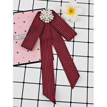Unique Rhinestone Faux Pearl Bowknot Brooch - DEEP RED
