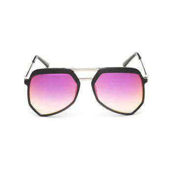 Anti Fatigue Metal Crossbars Decorated Shield Sunglasses - BARBIE PINK