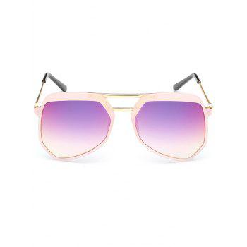 Anti Fatigue Metal Crossbars Decorated Shield Sunglasses - DEEP PINK