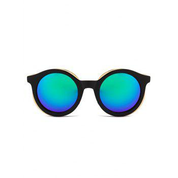 Metal Full Frame Sun Shades Round Sunglasses - BLACK/BLUE/GREEN