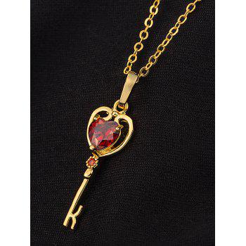 Artificial Gem Heart Key Pendant Necklace - RED