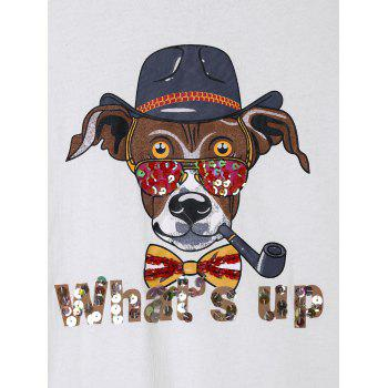 Cartoon Graphic Sequined T-shirt - WHITE ONE SIZE