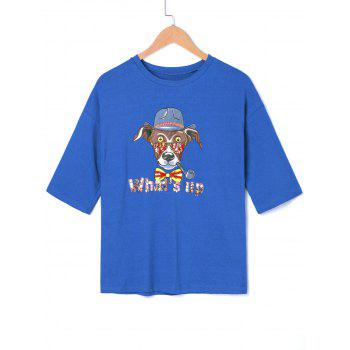 Cartoon Graphic Sequined T-shirt - BLUE ONE SIZE