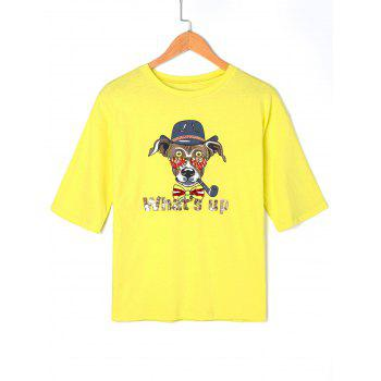 Cartoon Graphic Sequined T-shirt - YELLOW ONE SIZE