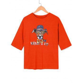Cartoon Graphic Sequined T-shirt - JACINTH ONE SIZE