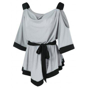 Draped Collar Cold Shoulder Belted Top - GRAY M
