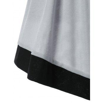 Draped Collar Cold Shoulder Belted Top - GRAY L