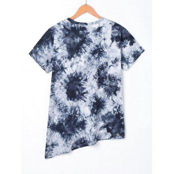 Asymmetric Love Beading Tie Dye T-shirt - DEEP BLUE L