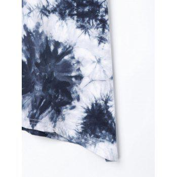 Asymmetric Love Beading Tie Dye T-shirt - DEEP BLUE XL