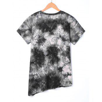Asymmetric Beaded Tie Dye T-shirt - DEEP GRAY L