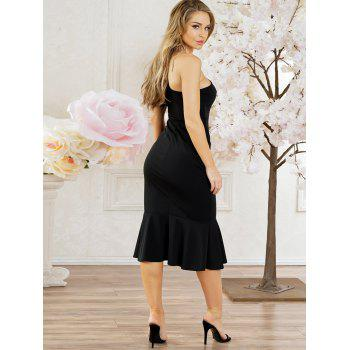 Side High Slit One Shouler Party Dress - BLACK XL