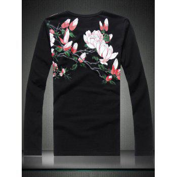 Chinoiserie Phoenix Print Long Sleeve T-shirt - BLACK 2XL