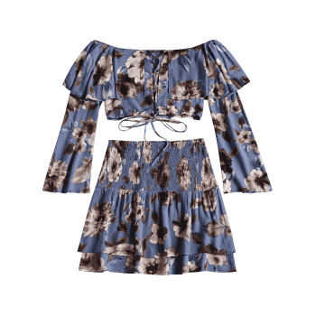 Lace Up Floral Top with Tiered Beach Skirt - BLUE L