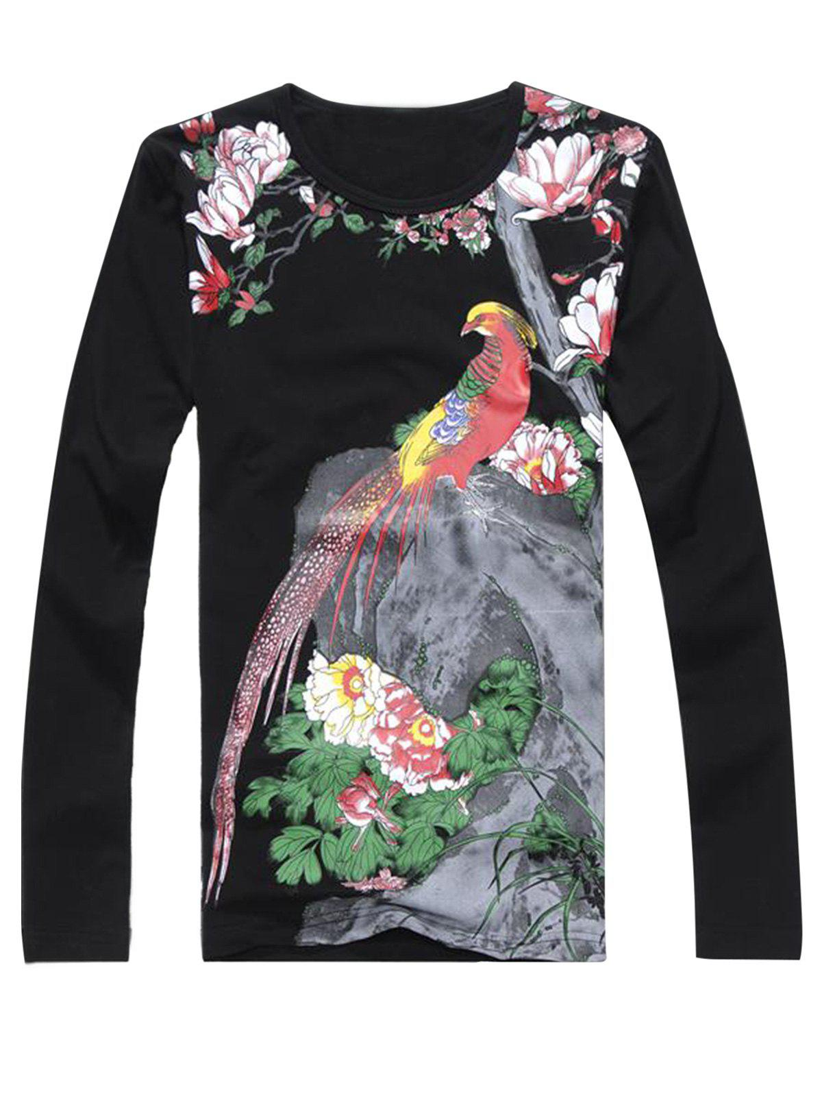 Chinoiserie Phoenix Print Long Sleeve T-shirt - BLACK XL