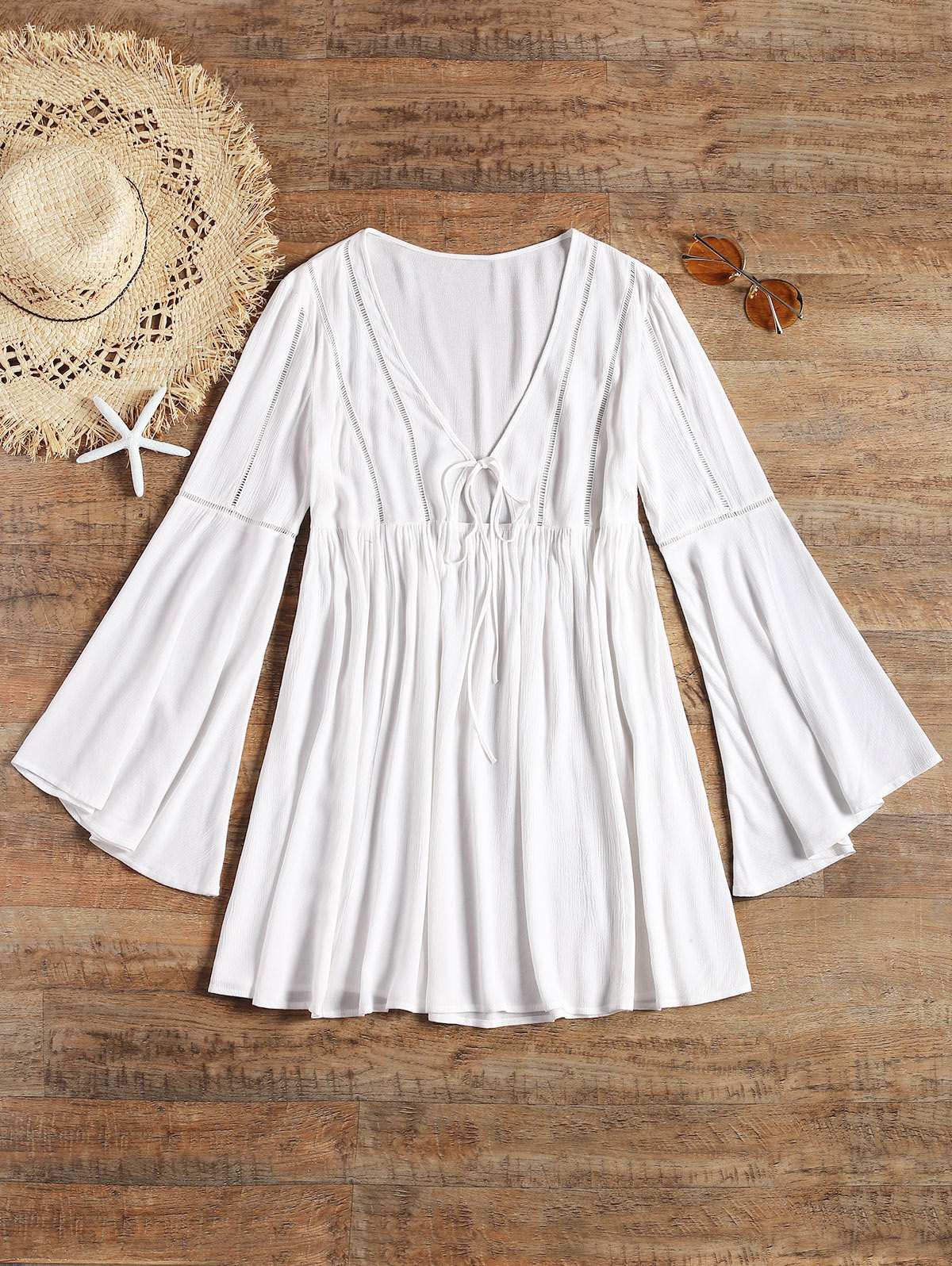 V Neck Flare Sleeve Cover Up Dress - WHITE S