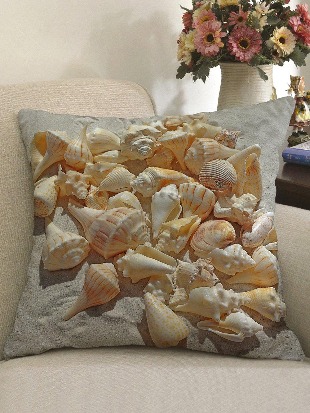Sandbeach Conch Print Linen Sofa Pillowcase - LIGHT BROWN W18 INCH * L18 INCH