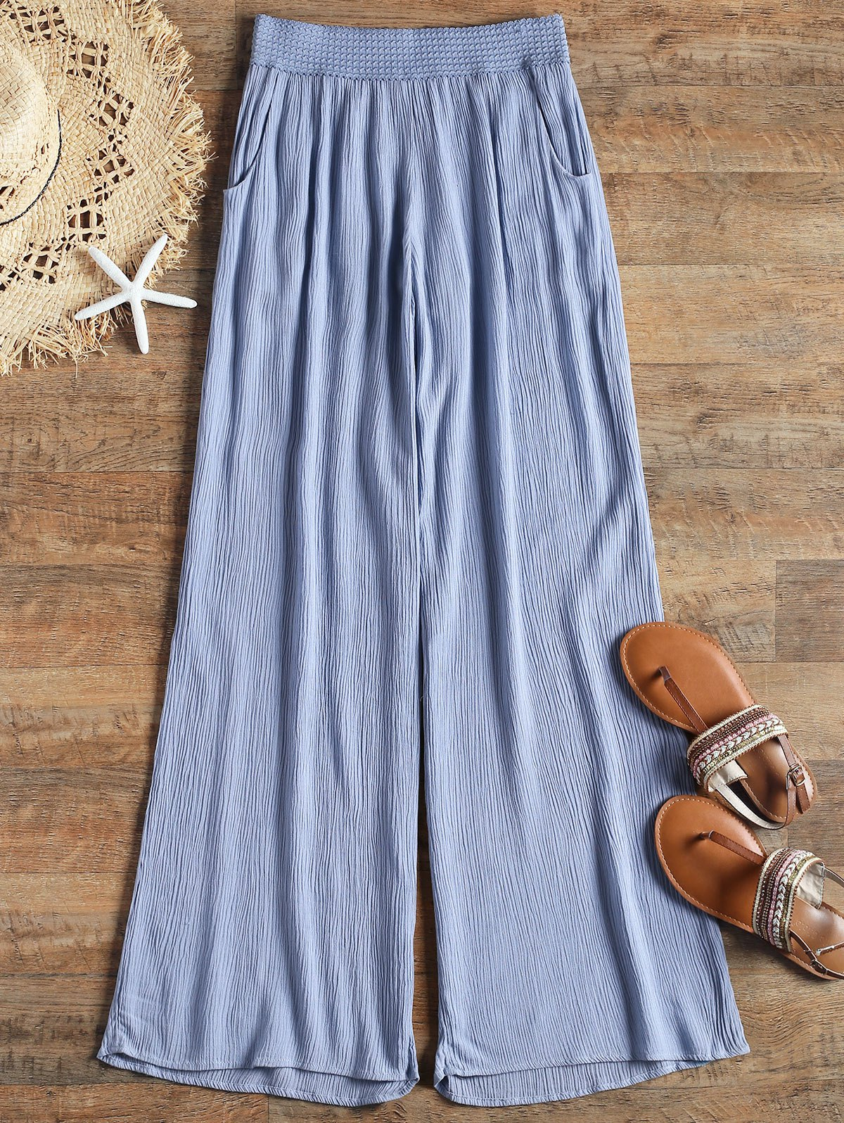 Crinkly Cover Up Palazzo Pants - BLUE L