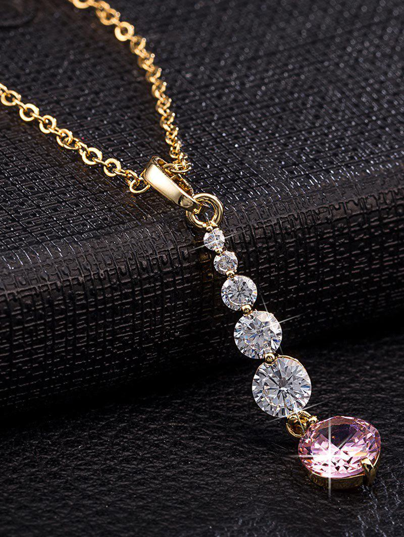 Faux Crystal Decorated Metal Pendant Necklace - PINK