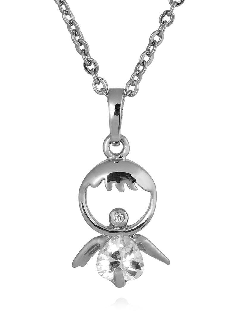 Faux Crystal Decorated Doll Pendant Necklace - SILVER