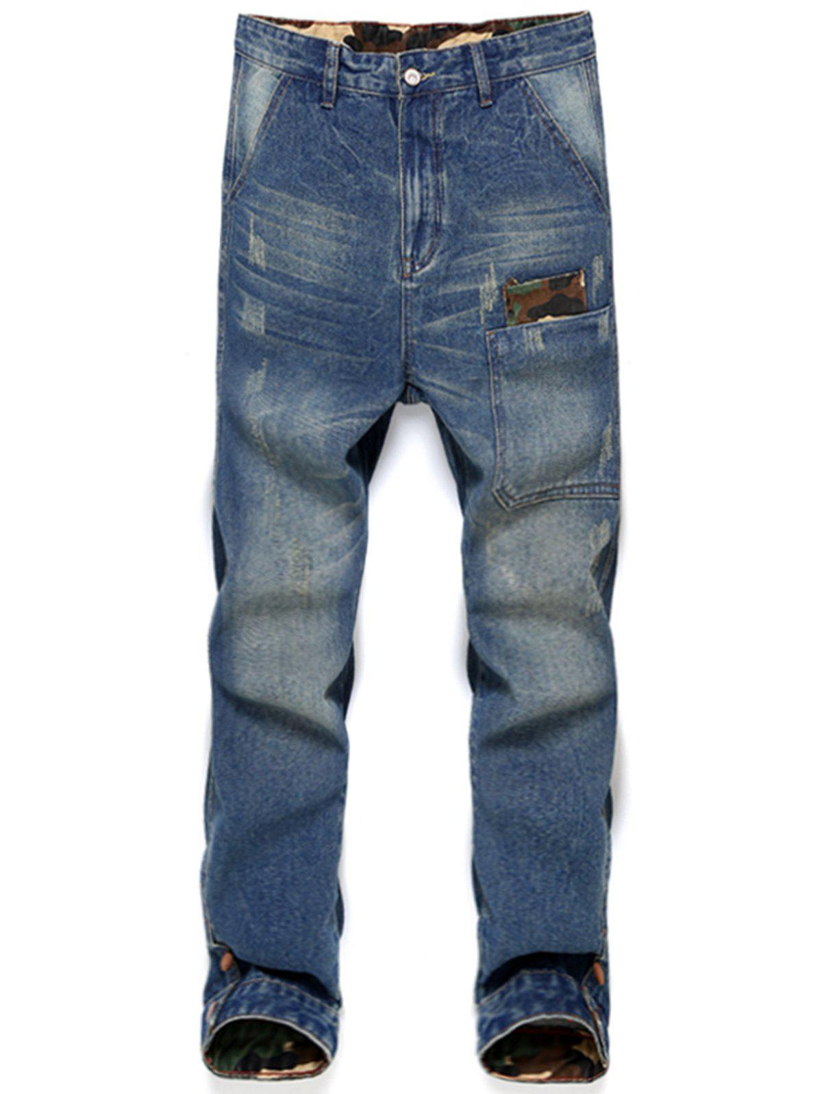 Bleach Wash Distressed Harem Jeans - DENIM BLUE 33