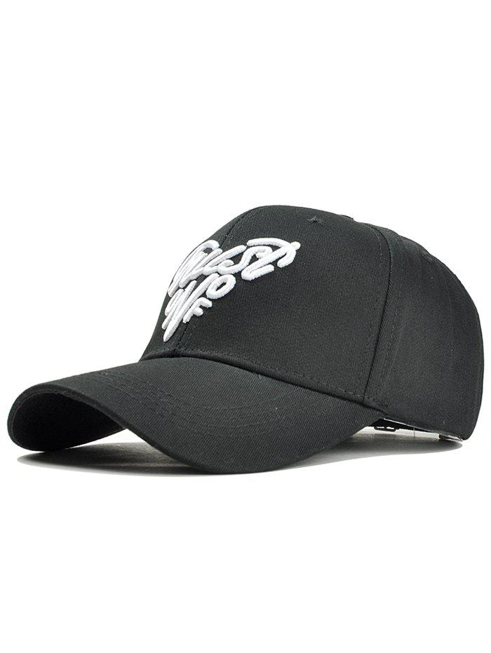 Heart Shaped Letter Embroidery Snapback Cap - BLACK