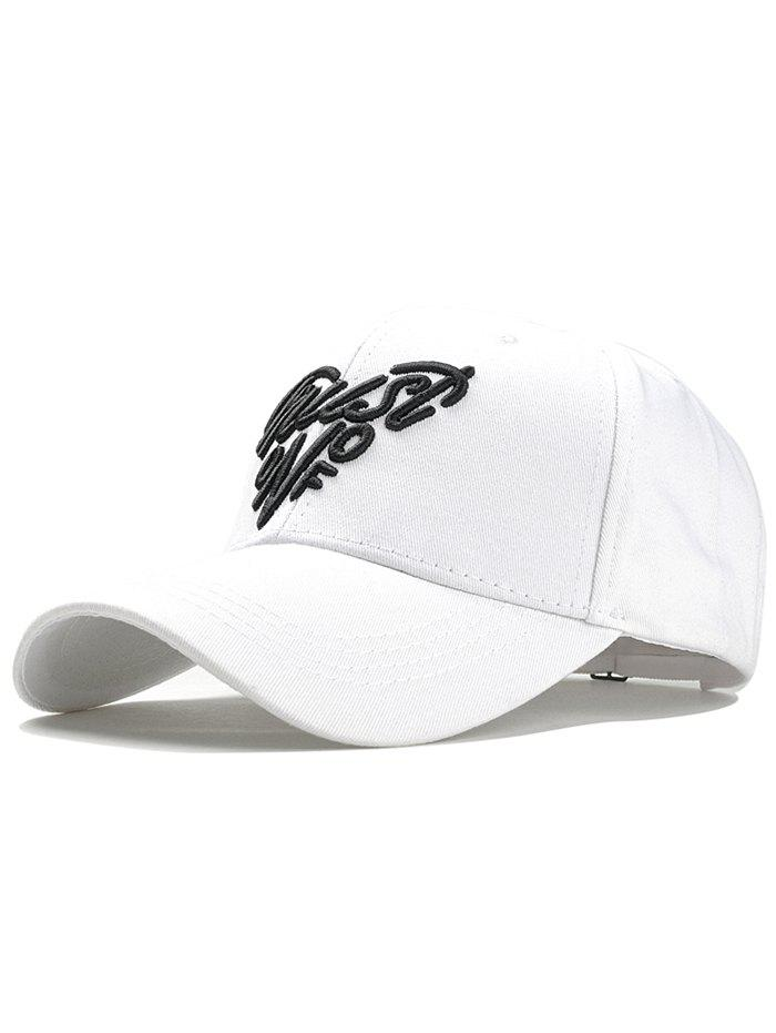 Heart Shaped Letter Embroidery Snapback Cap - WHITE / BLACK
