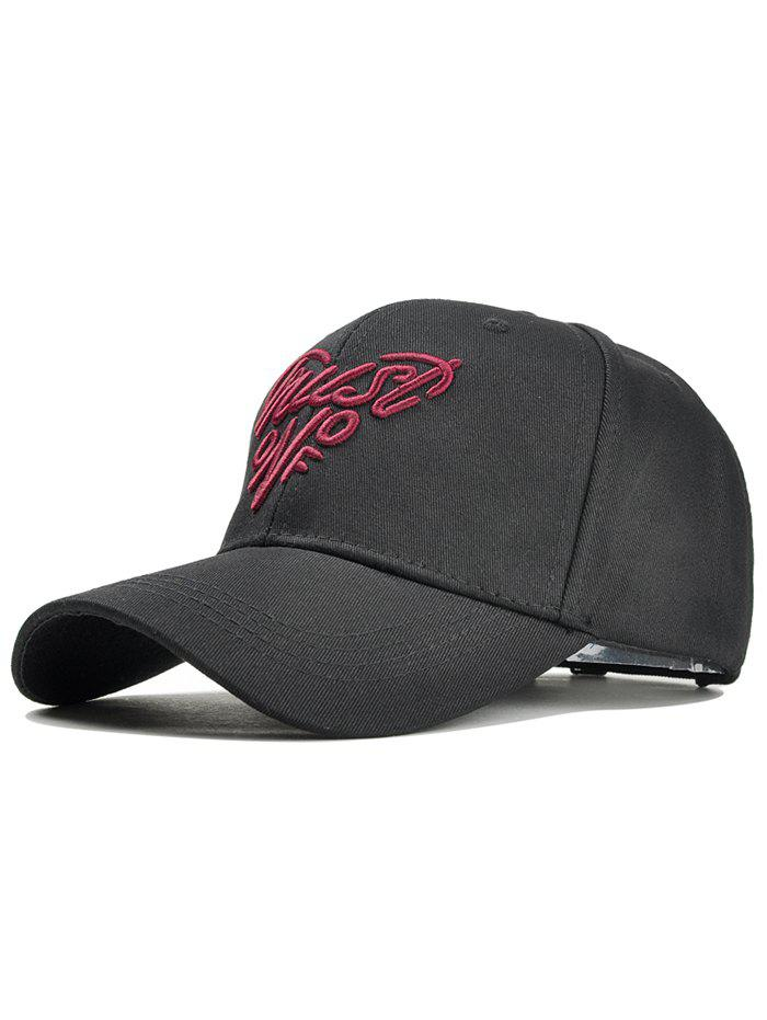 Heart Shaped Letter Embroidery Snapback Cap - BLACK/RED