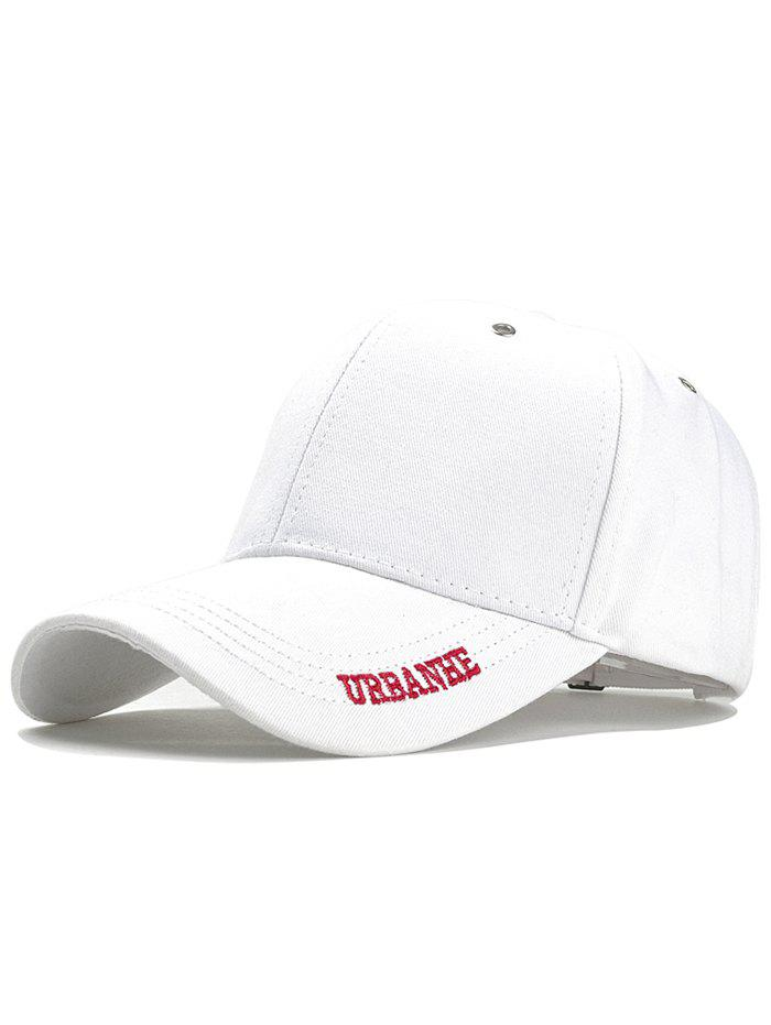 Letter Embroidery Adjustable Sport Hat - WHITE