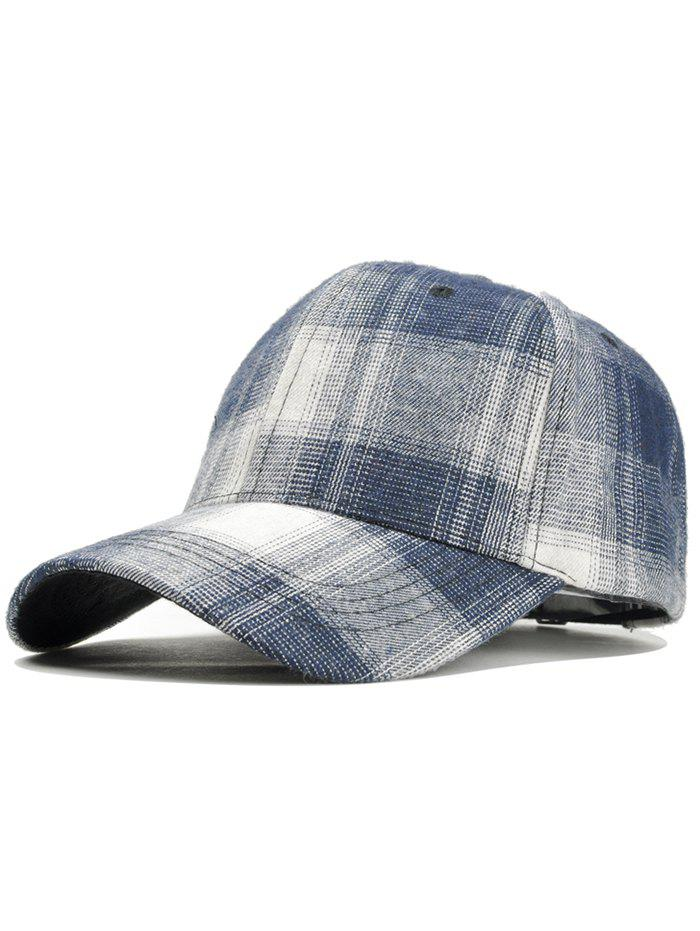 Plaid Pattern Adjustable Graphic Hat - BLUE