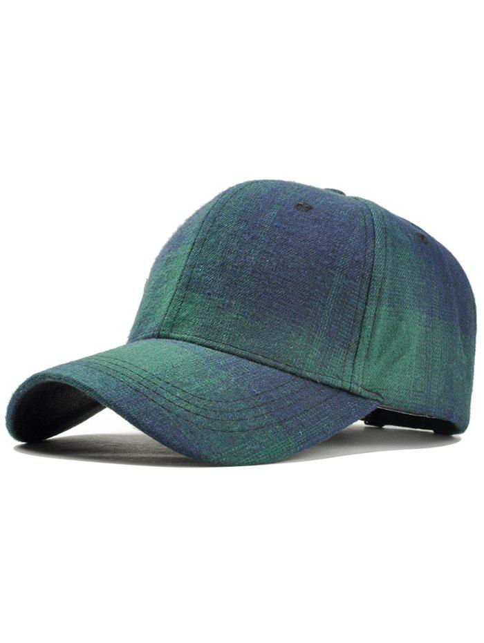 Plaid Pattern Adjustable Graphic Hat - BLUE GREEN