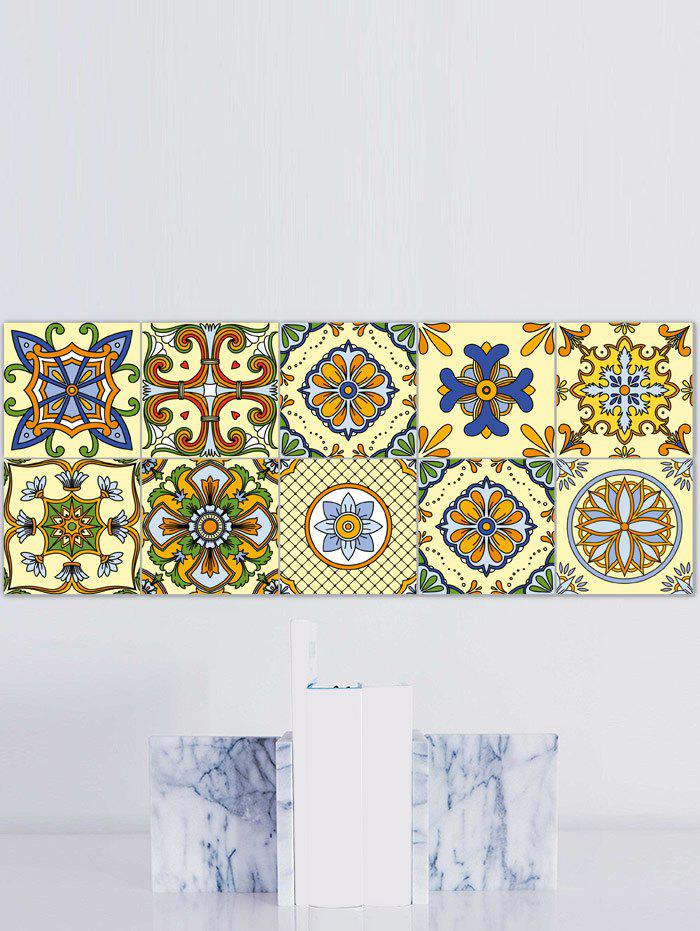 20Pcs Square Flower Printed Skidproof Wall Tile Stickers - YELLOW / GREEN 4*4 INCH