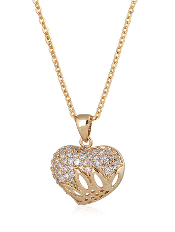 Faux Crystal Inlaid Heart Link Chain Pendant Necklace - GOLDEN