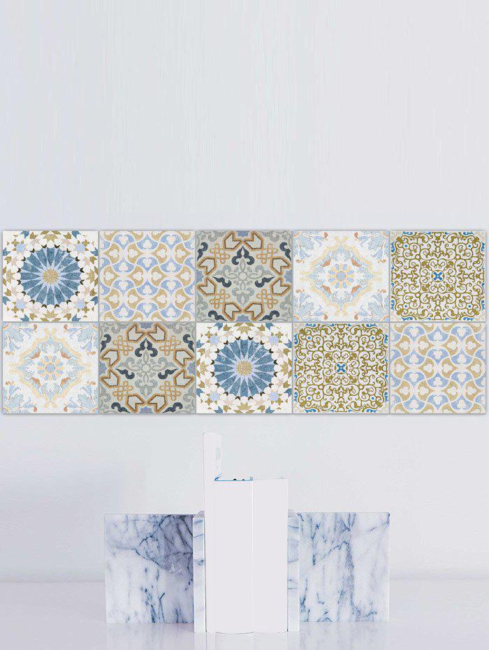 Nonslip Square Flower Print Wall Stickers Set - COLORMIX 6*6 INCH