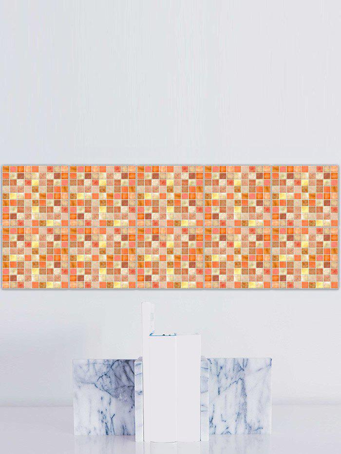 Plaid Pattern Waterproof Kitchen Tile Stickers - PEARL ORANGE 8*8 INCH