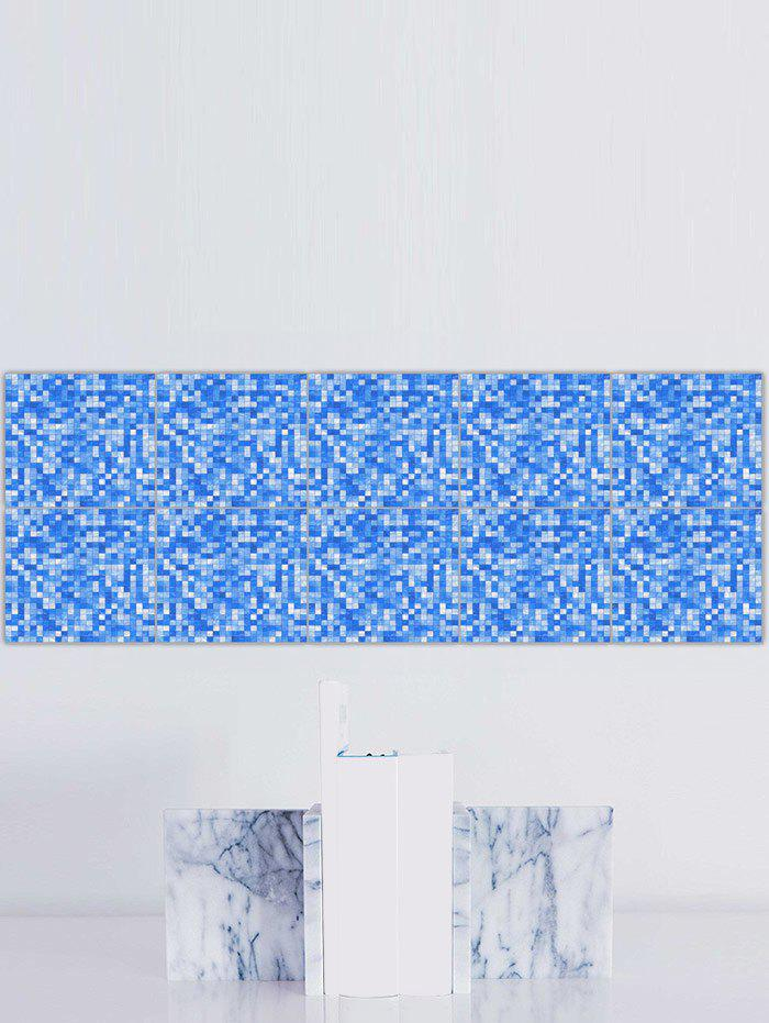 Plaid Pattern Waterproof Kitchen Tile Stickers - BLUE 8*8 INCH