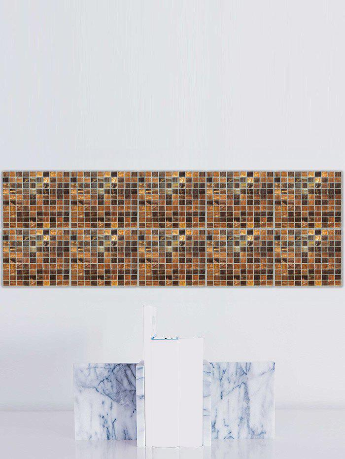 Plaid Pattern Waterproof Kitchen Tile Stickers - GOLD BROWN 8*8 INCH