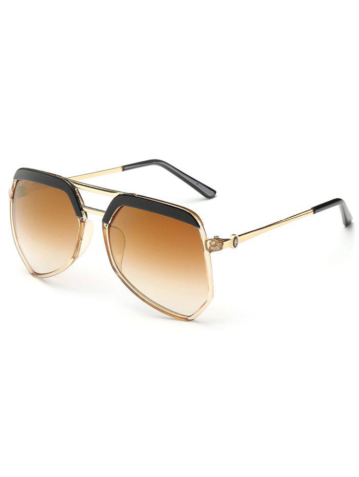 Anti Fatigue Metal Crossbars Decorated Shield Sunglasses - TEA COLORED