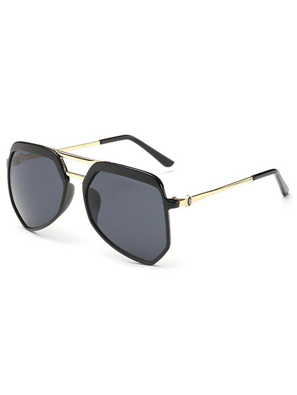 Anti Fatigue Metal Crossbars Decorated Shield Sunglasses - BLACK