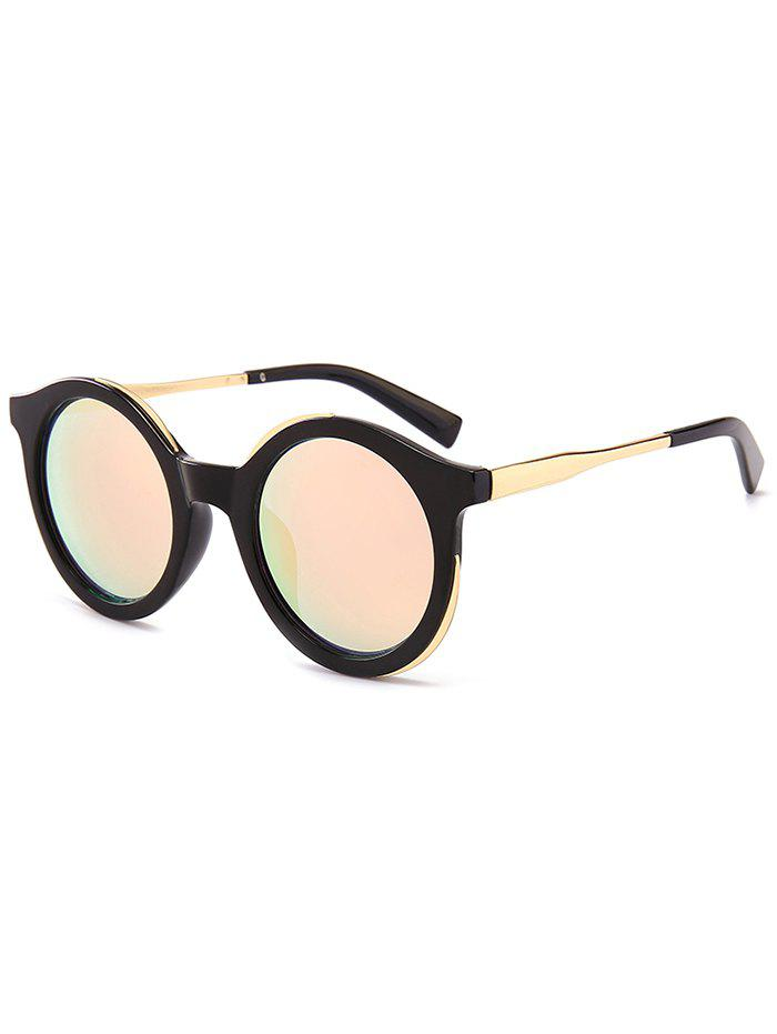 Metal Full Frame Sun Shades Round Sunglasses - BRIGHT BLACK FRAME/PINK MERCURY LENS