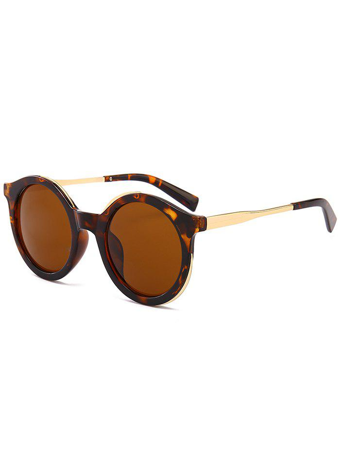 Metal Full Frame Sun Shades Round Sunglasses - LEOPARD/DARK BROWN