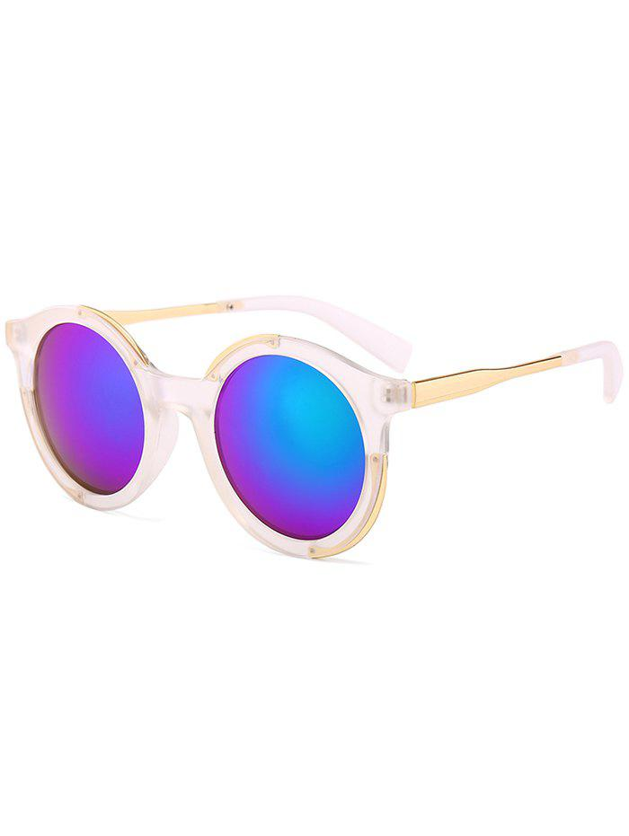 Metal Full Frame Sun Shades Round Sunglasses - TRANSPARENT GREEN