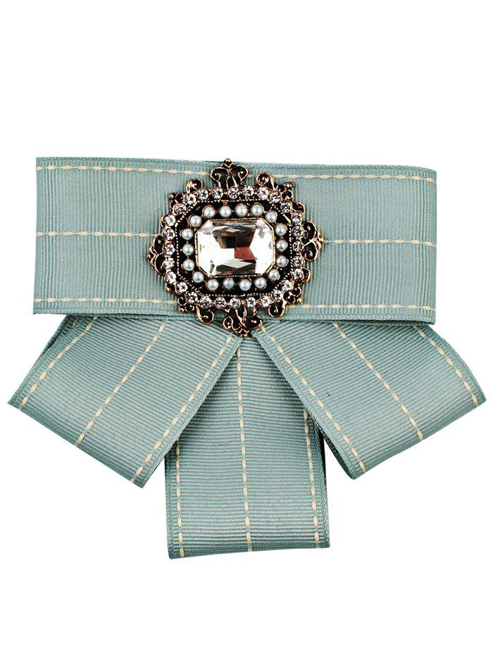 Multilayer Ribbon Bowknot Faux Gem Brooch - BLUE