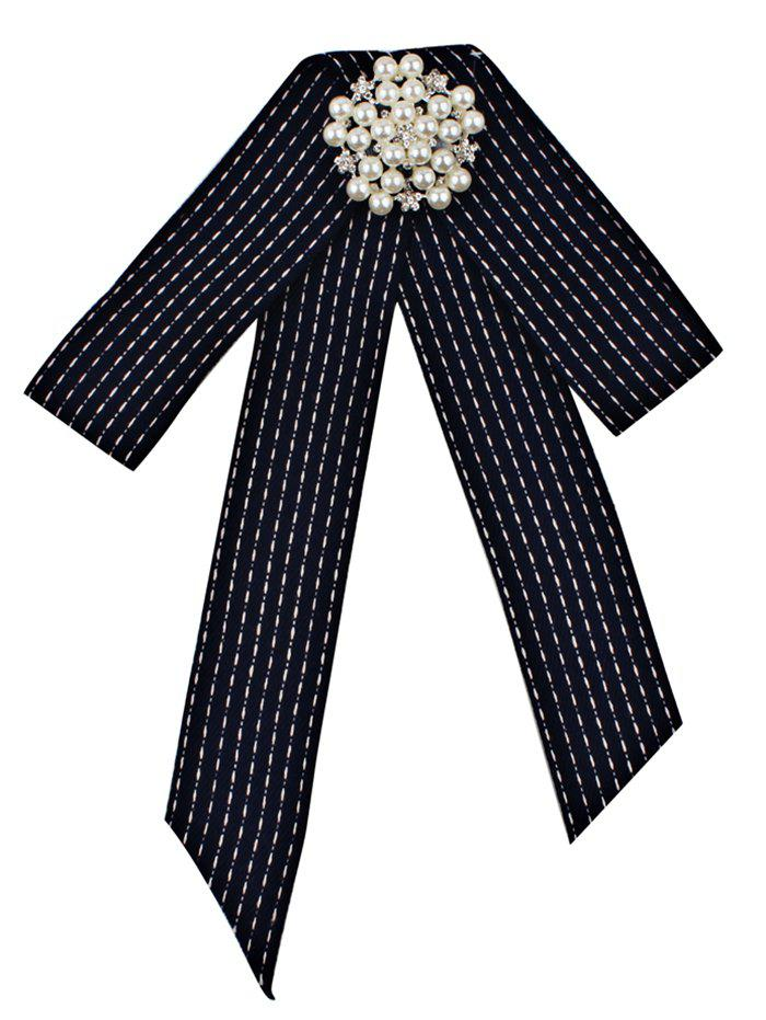 Unique Rhinestone Faux Pearl Bowknot Brooch - BLACK BLUE