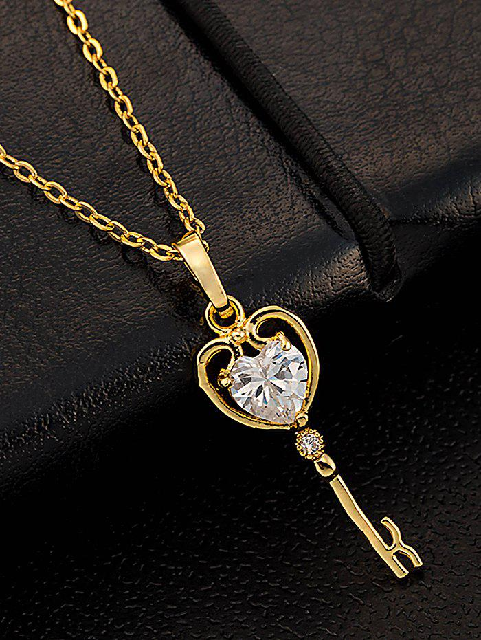 Artificial Gem Heart Key Pendant Necklace - WHITE